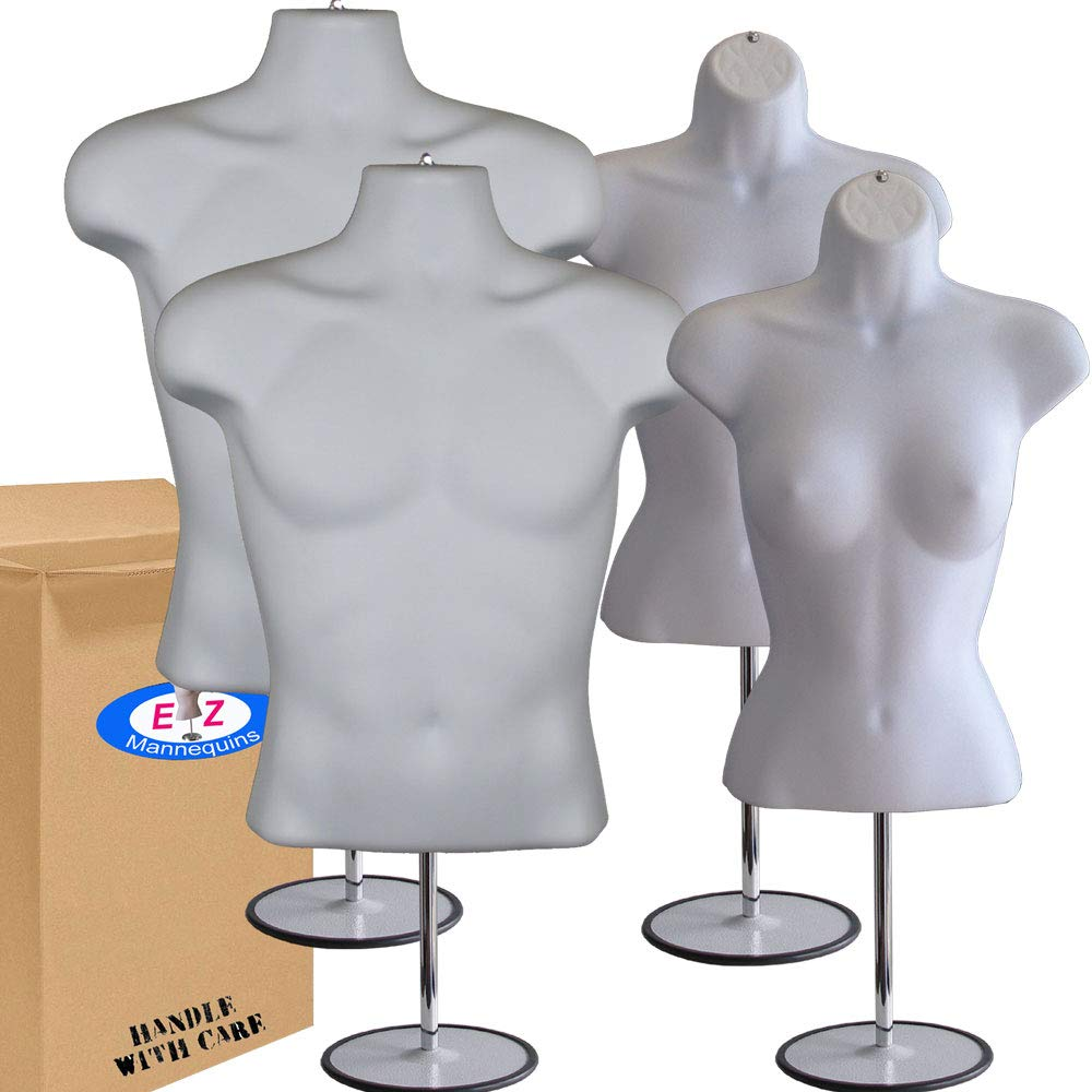 2-Pack Male + Female Mannequin Torso Set, Dress Form Hollow Back Body Tshirt Display, with Stand for Counter by EZ-Mannequins for Craft Shows, Photos or Design, Easy to Assemble and Store, S-M Sizes.