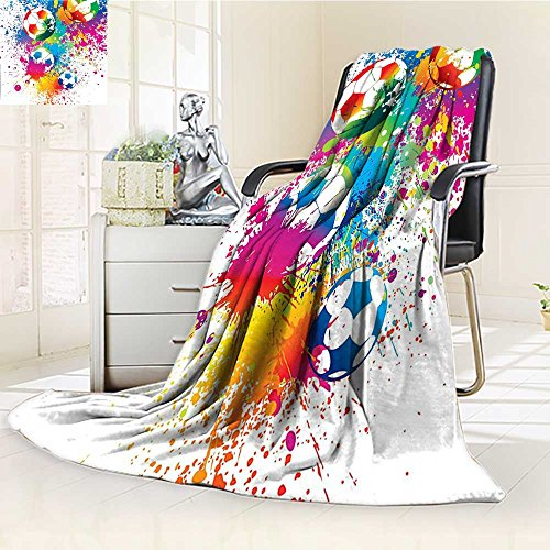 AmaPark Digital Printing Blanket Sports Splashes All over the Soccer Balls Score Cup Championship Athletic Print Summer Quilt Comforter by AmaPark