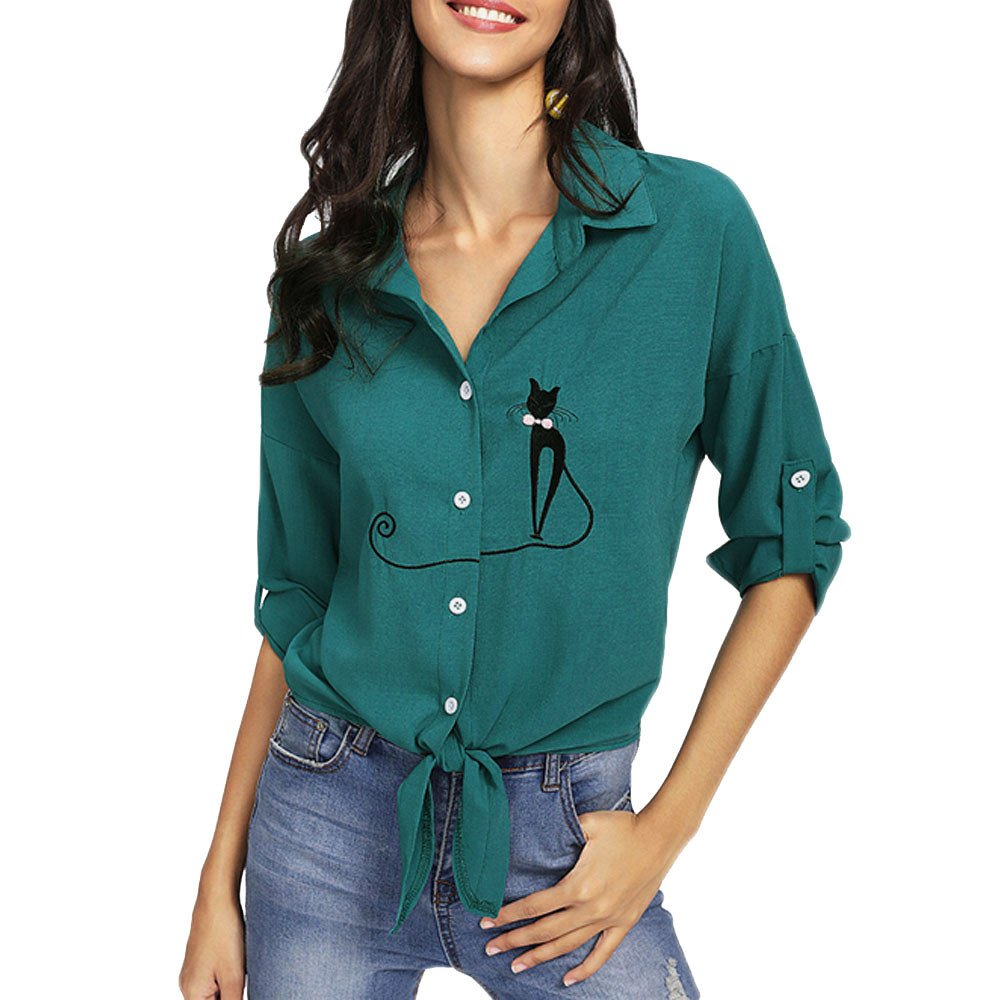 Women Casual Long Sleeve Button Shirts Embroidered Cat Knotted Hem T Shirt Blouse Tops