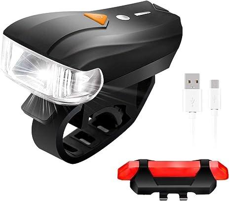 SGODDE Lampara Bicicleta Trasera y Delantera, USB Linterna ...