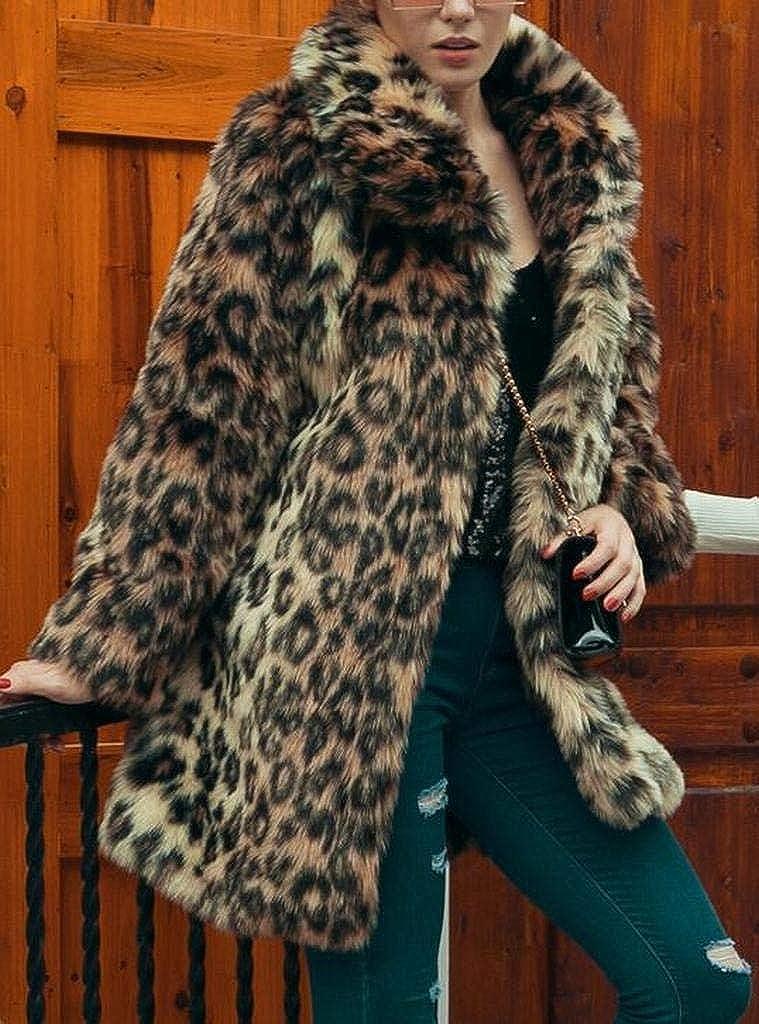 490a9a6648c0 MMCP Women Winter Warm Leopard Print Fuzzy Lapel Faux Fur Coat Jacket  Outerwear at Amazon Women's Coats Shop