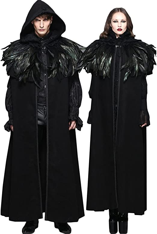 Steampunk Hooded Women Cape Coats Gothic Black Cloth Shawls Costume Accessories