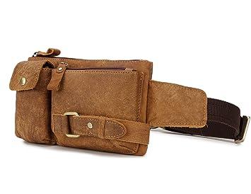 c62c4a436d61 Loyofun Unisex Brown Genuine Leather Waist Bag Messenger Fanny Pack Bum  Sling Bag for Men Women Travel Sports Running Hiking