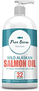 Wild Alaskan Salmon Oil for Dogs 32 Ounce; Natural Liquid Supplement with Omega 3's to Support Joint, Heart, and Immune Health Essential Fatty Acids Promote a Shiny Coat and Healthy Skin