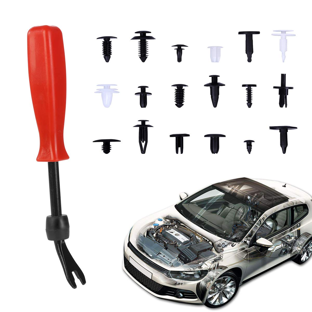 18 Most Popular Sizes Car Retainer Clips Kit Auto Push Rivets Clips for GM Ford Toyota Honda 415 Pcs Plastic Car Body Pins with Fastener Remover