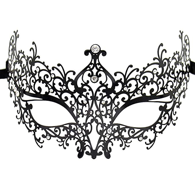 c1dba36706ca Amazon.com: Masquerade Mask for Women Shiny Rhinestone Venetian Party Prom Ball  Metal Mask: Clothing