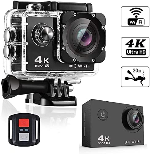 Action Camera 4K Smyidel 16MP Ultra HD WiFi Sport Camera 170 Wide View Angle Underwater Waterproof 30M 2.0 Inch LCD Screen with Remote Control and Mounting Accessories Kits Black