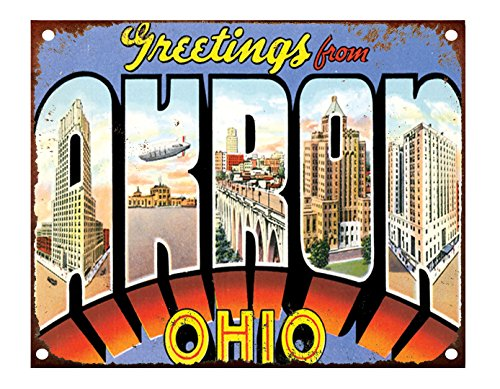 Greeting From Akron, Oh Metal Tin Sign Rusty Frame & 4 Holes - 10 Style Akron