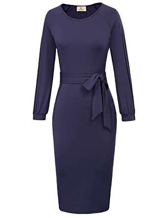 d634209220 GRACE KARIN Women s Retro Bodycon Below Knee Formal Office Pencil Dress Size  S Dark Blue