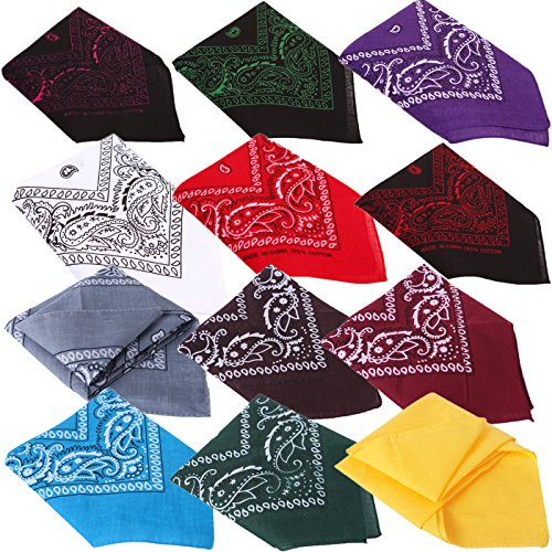 HDE Bandanas for Men - Bandana, Headband, Head Wrap, Dog Bandana 12 pack Paisley -