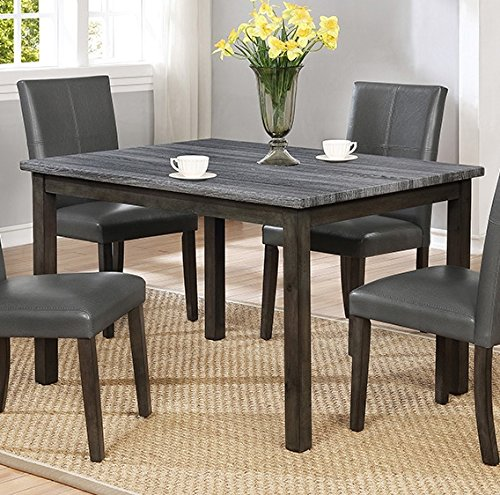 Pompei Grey Wood Dining Table w/Faux Marble Top by Crown Mark by Crown Mark