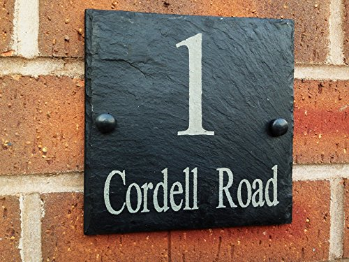 Slate House Sign Address Door Number House Plaque 15x15cms, 6 inch x 6 inch (Free postage) by Slateworks