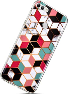 Herbests Coque Huawei P Smart Marbre,Ultra Mince Coque en Silicone Housse Soft TPU Gel Cover Slim Doux Etui de Protection avec Motif Caoutchouc Bumper Anti-Rayures Anti Choc Case,Couleur#6