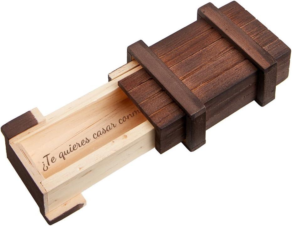 """MAGISCHE GESCHENKBOX Casa Vivente – Caja Mágica de Madera Oscura – Pedida de Mano – """"¿Quieres casarte Conmigo?"""" – Envoltorio para Anillo de Pedida de Mano – Juego de Ingenio – 10,5 cm x 6,5 cm x 4 cm"""