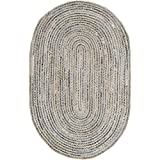 Safavieh Cape Cod Collection CAP250A Hand Woven Natural and Blue Jute Oval Area Rug (5' x 8')