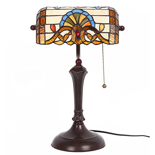 Bieye L10516 Baroque Tiffany Style Stained Glass Banker Table Lamp with 10-inch Wide Lampshade for Working Reading, Table Lamp, 17 inch Tall