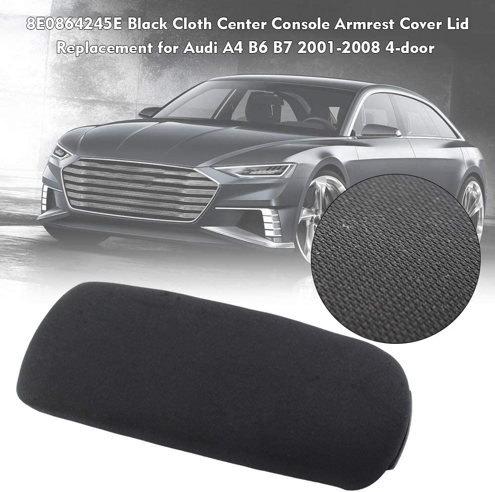8E0864245E Black Cloth Center Console Armrest Cover Lid Replacement for Audi A4 B6 B7 2001-2008 4-door Walmeck