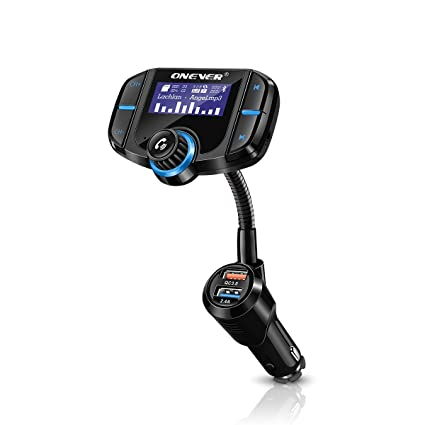 FM Transmitter Sunsbell Wireless Radio Adapter Audio Receiver Car Adapter  Kit TF Card/AUX-in, QC3 0 USB Chargers for Vehicles, Siri Supported