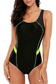 dde758463c5dff Sociala Women's Athletic One Piece Bathing Suits Racerback Swimsuits  Swimwear