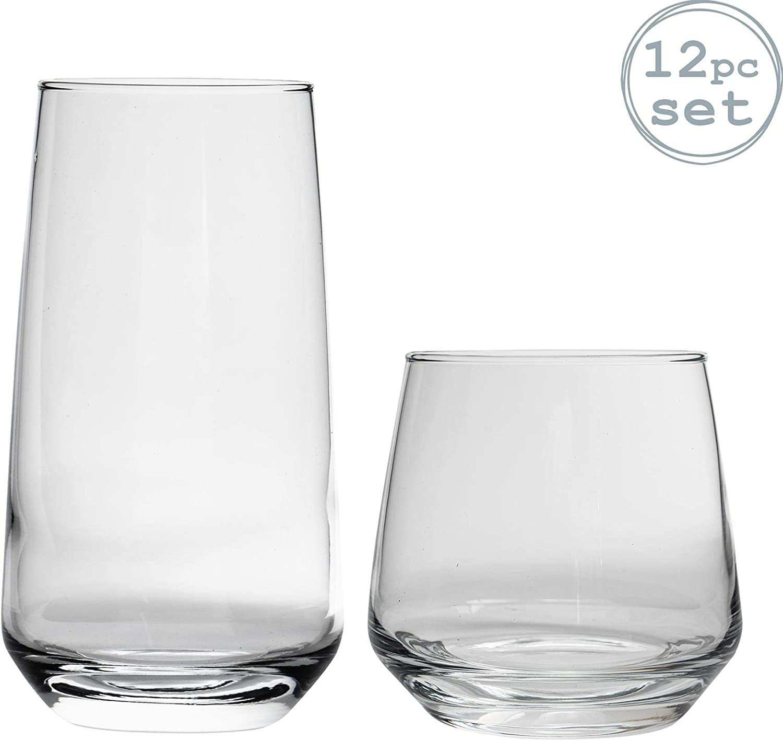Argon Tableware 'Tallo' 12 Piece Hiball & Tumbler Glasses. Everyday Glassware Set 480ml, 345ml