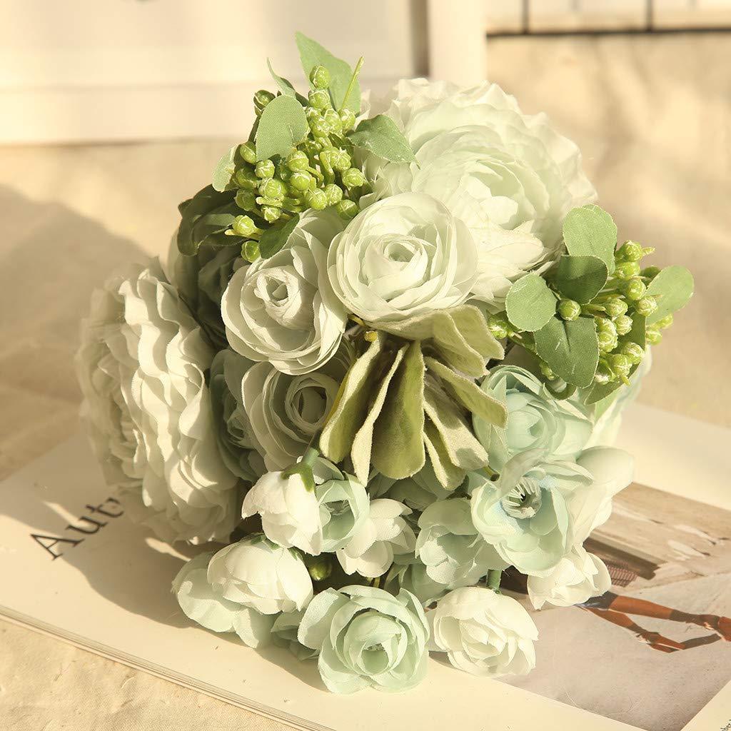 MSOO Multicolor Phantom Rose Peony TOP Silk Flowers Bouquet Single Decor Wedding (B)