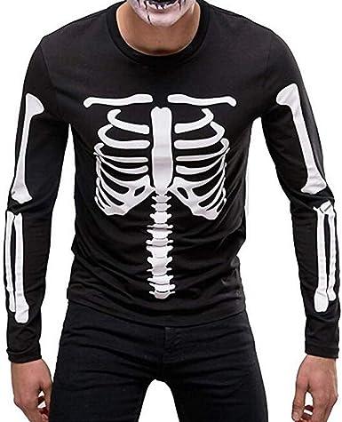 Men/'s Halloween T-shirt Crew Neck 3D Graphic Print Long Sleeve Skeleton Top Tee