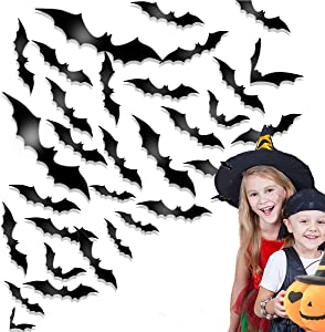 60 PCS Halloween Party Supplies PVC 3D Decorative Scary Bats Wall Decal Wall Sticker, Halloween Eve Decor Home Window Decoration Set, 60pcs, Black