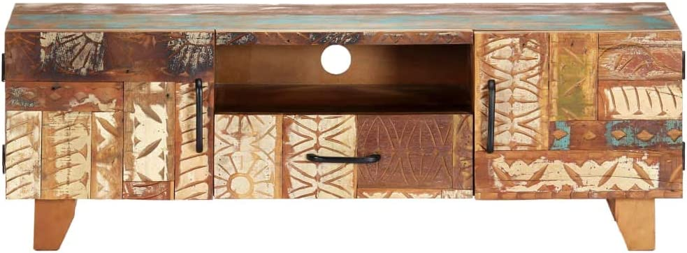 1 Drawer and 1 Compartment with Hand Carved Pattern 120x30x40 cm Solid Reclaimed Wood 2 Doors Festnight Hand Carved TV Cabinet with Storage Unit