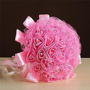 Yu2d 🌹🌹 Crystal Ribbon Roses Bridesmaid Wedding Bouquet Bridal Artificial Silk Flowers(RedWhitePurplePink) 79