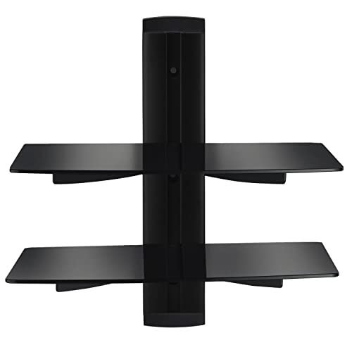 Sunydeal Vemount 2 Black Wall Mount Floating Shelf Stand with Strengthened Tempered Glass for DVD player/Amplifier/Speaker/SKY/Cable Boxes/Games Consoles/TV Accessories