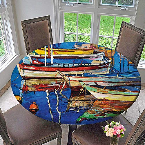 Mikihome The Round Table Cloth Mod Folk Art Style Paint of Boats on The Shore at Golden Sunset for Birthday Party, Graduation Party 63