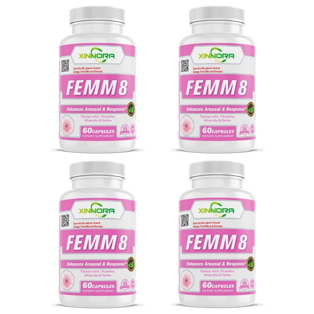 XINNORA Femm8 - Natural Female Sexual Enhancement & Libido Supplement for Women - Enhances Arousal & Response, Increases Stamina & Energy, Boosts Sex Drive, Better Sexual Health - 60 Caps x 4 BTL