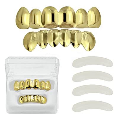 TOPGRILLZ 18K Gold Plated Hip Hop Custom Fit Teeth Grillz Set Caps with 4  Silicon Molding Bars