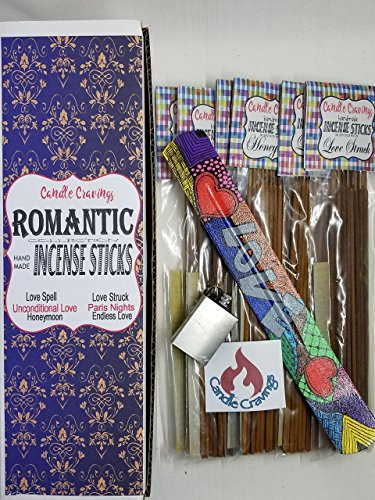 Scented Incense Sticks Variety Pack With Burner Holder, 6 Scents Romantic Collection Boxed Gift Set ()