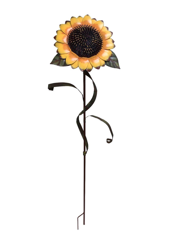 Waroom Home Sunflower Garden Stake, Metal Outdoor Yard Decor Patio Ornaments Flower Stake (48''H, Sunflower)