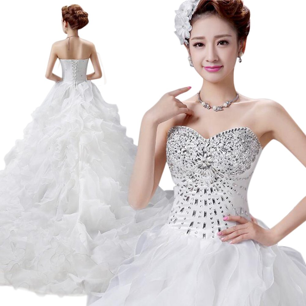 LIWA Beading Ruffles Long Wedding Dress Strapless Court Train Bandage Tutu Bridal Veil (small, white) by LIWA (Image #1)