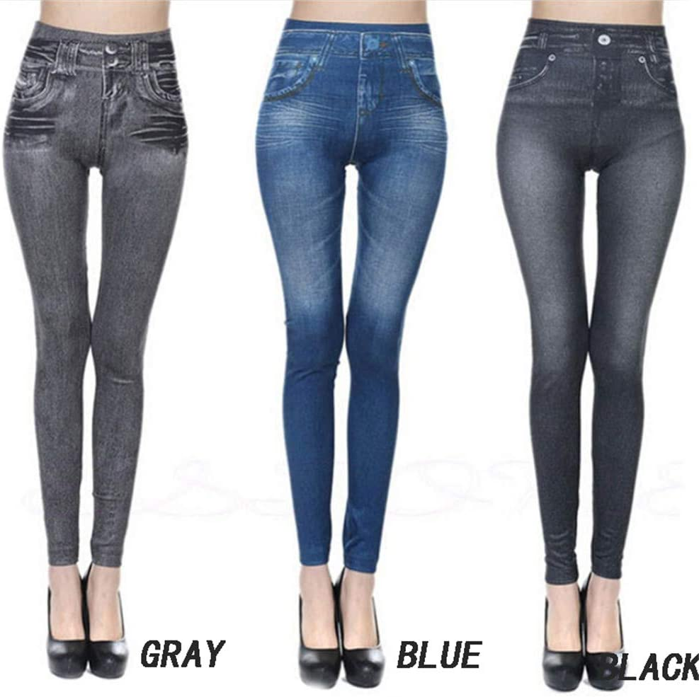 Jean Super Skinny pour Femme Femme Skinny Super /élastique Taille Haute Contr/ôle du Ventre Leggings en Cuir Pantalon Push-up Extensible ZJXAM Jegging en Denim en Polaire Thermique