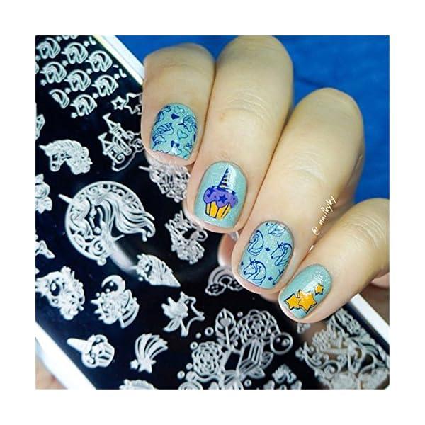 BORN PRETTY 1Pc Rectangle Stamping Plate Unicorn Pattern Manicure Nail Art Plate Harunouta L045 8