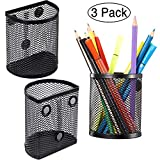 Zonon Magnetic Pencil Holder Set of 3, Mesh Storage Baskets with Magnets to Hold Whiteboard, Locker Accessories, Black