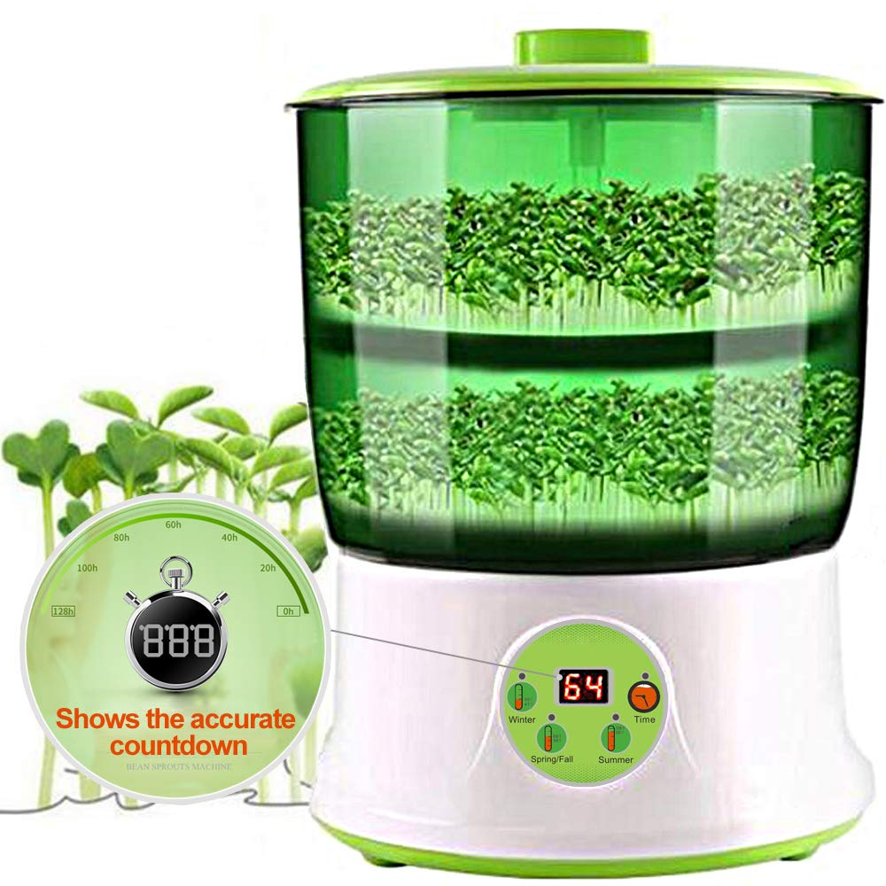 Bean Sprouts Machine,LED Display 110V Automatic Intelligence Electronical Seed Sprouts Maker Food Grad PP Material 2 Layers Large Capacity Power-Off Memory Function Sprouter by LeJoy Garden