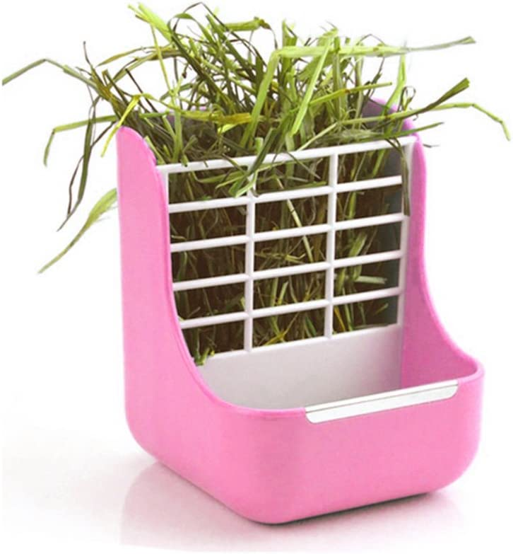 Okared 2 in 1 Feeder Bowls Double use for Grass and Food Hay Food Bin Feeder, Small Animal Supplies Rabbit Chinchillas Guinea Pig Pink