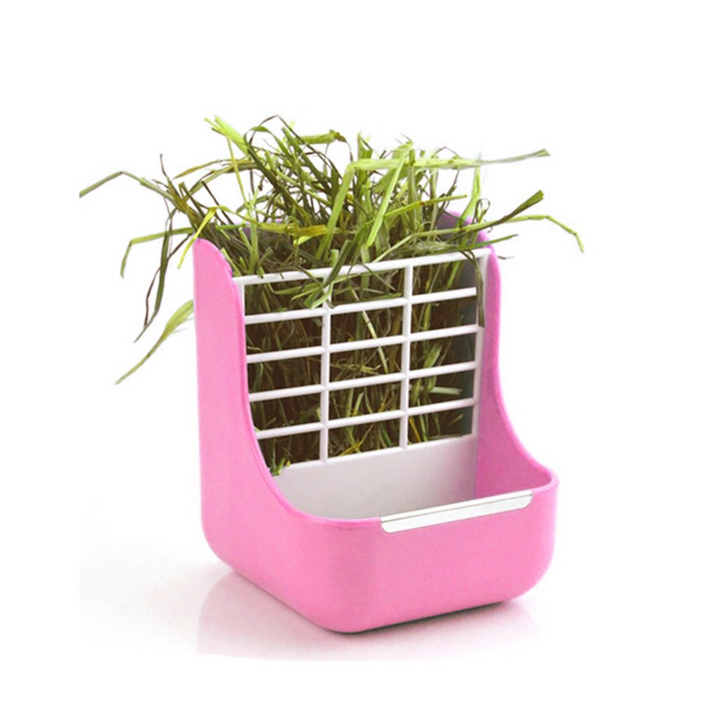 Hay Food Bin Feeder, Small Animal Supplies Rabbit Feeder Bunny feeder Guinea Pig Feeder Chinchilla Food Feeder - Double use for Grass and Food (PINK)