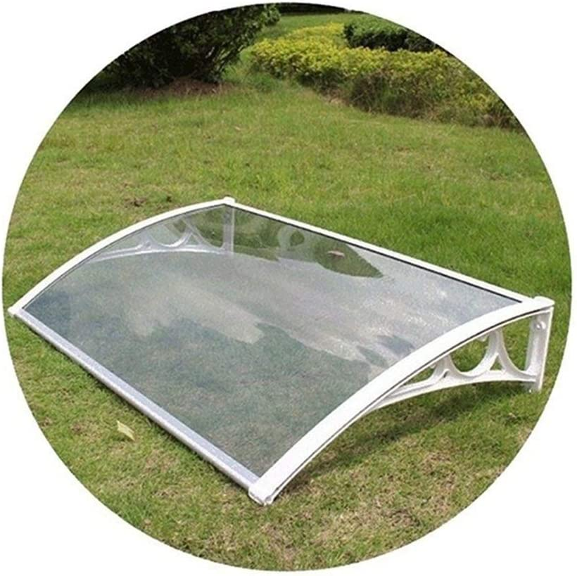 JUANJUAN Window Garden Canopy Patio Porch Awning Shelter Weather Proof Multiple Size & Colour (Color : Clear+White Bracket, Size : 60x60cm)