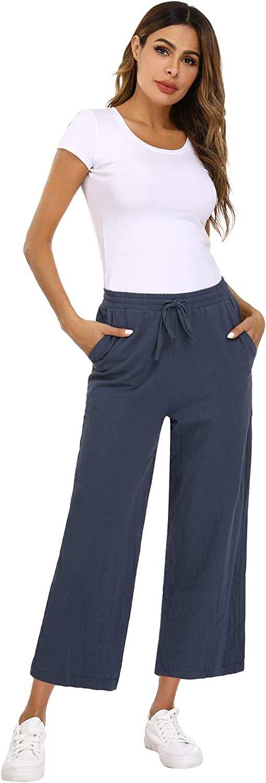 Mujer Abollria Pantalones De Algodon Y Lino Para Mujer Sueltos Pantalones De Pierna Ancha Verano Pantalon Anchos Pants Pantalones De Palazzo Con Cordon Ropa Brandknewmag Com