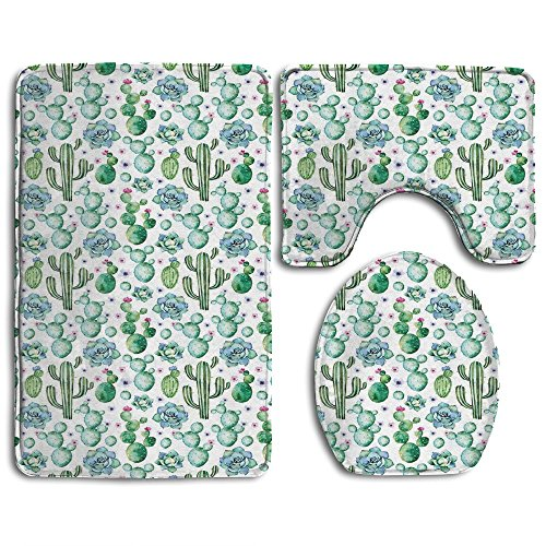 Guiping Hand Painted Exotic Plant Collection Saguaro Prickly Pear Succulents Spines Bathroom Rug Mats Set 3 Piece,Funny Bathroom Rugs Graphic Bathroom Sets,Anti-skid Toilet Mat Set (Graphic Spine)