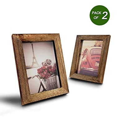 Emfogo 4x6 Picture Frames Photo Display for Tabletop Display Wall Mount Solid Wood High Definition Glass Photo Frame Pack of 2
