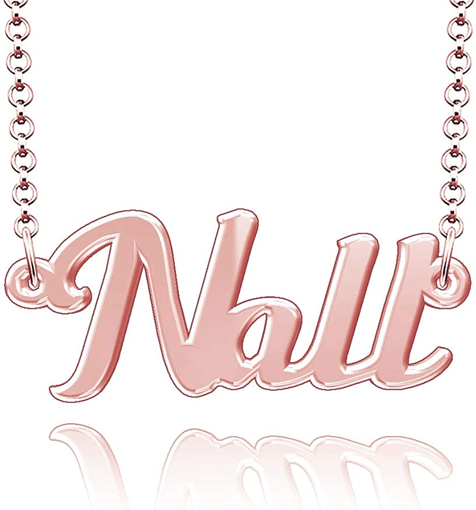 CLY Jewelry Personalized Last Name Necklace Custom Sterling Silver Nall Plate Customized Gift for Family