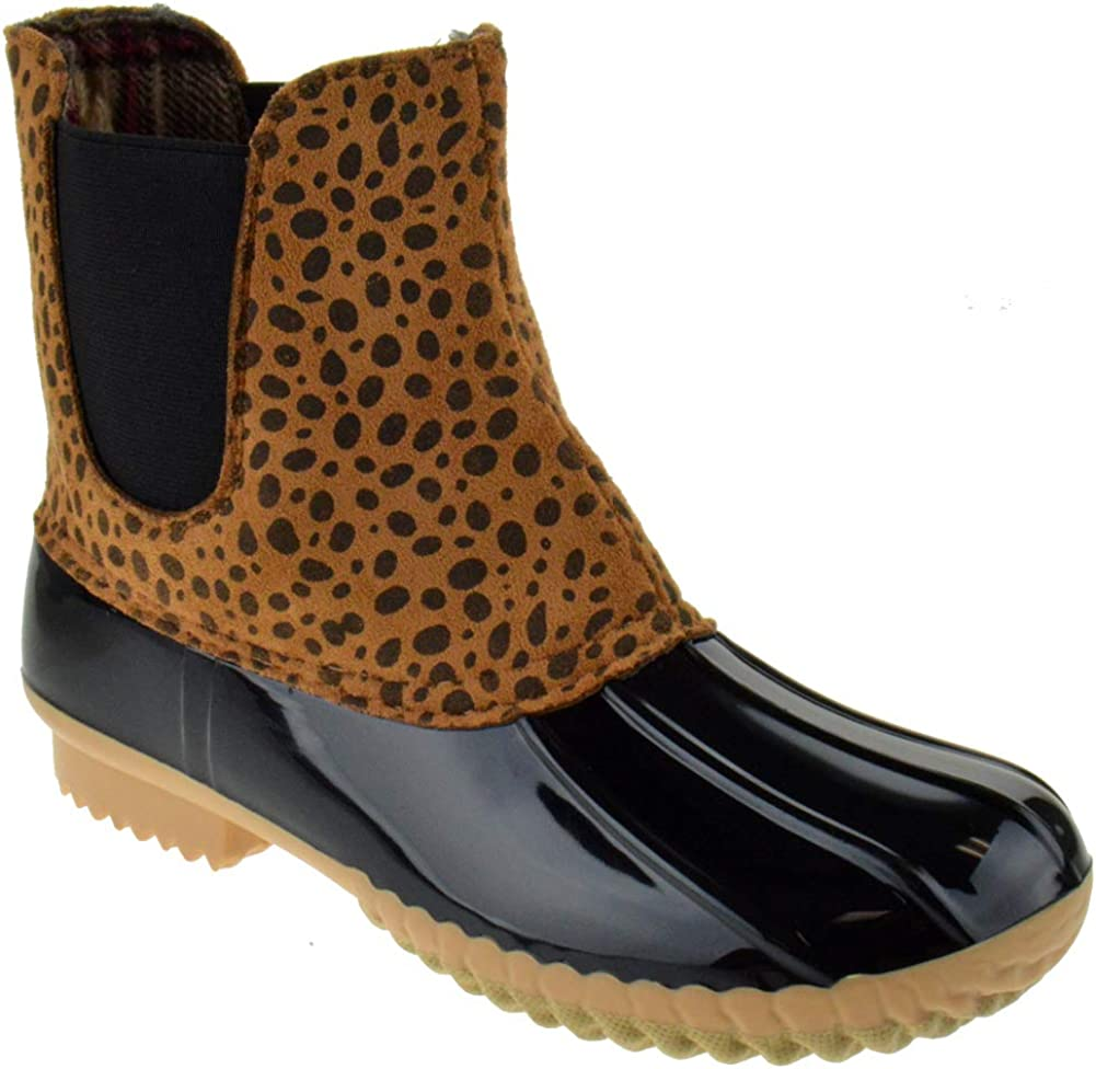 Nature Breeze Duck 08 Womens Two Tone Pull On Rain Duck Boots