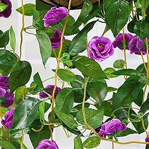 XHSP Artificial Rose Vine Silk Flower Garland Hanging Basket Decorative Plant Home Outdoor Wedding Arch Garden Wall Decor 3