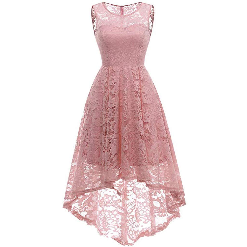 Ximandi Women's Casual Lace Round Neck Sleeveless A-line Swing Maxi Dress Evening Party Dress Pink